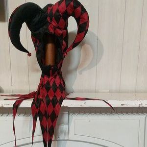 Men's Red & Black Jester Hat
